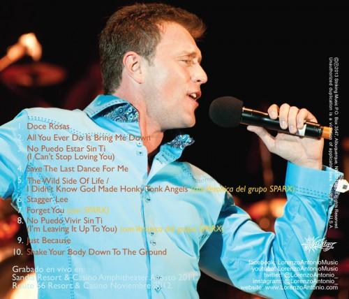 """Lorenzo Antonio """"¡En Vivo!"""" CD back"""