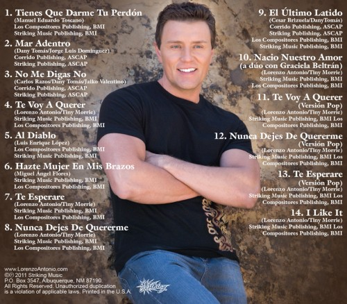 "Lorenzo Antonio ""Quedate Conmigo"" CD back"