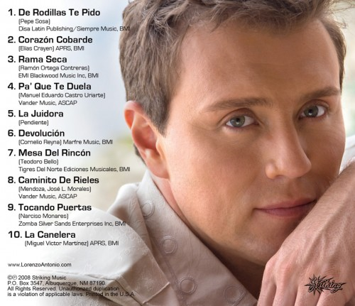 "Lorenzo Antonio ""Rancheras 3"" CD back"