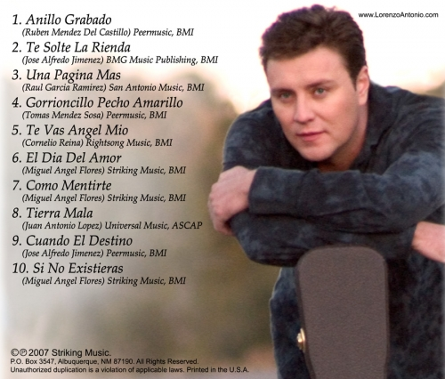 "Lorenzo Antonio ""Rancheras Vol. 2"" CD back"