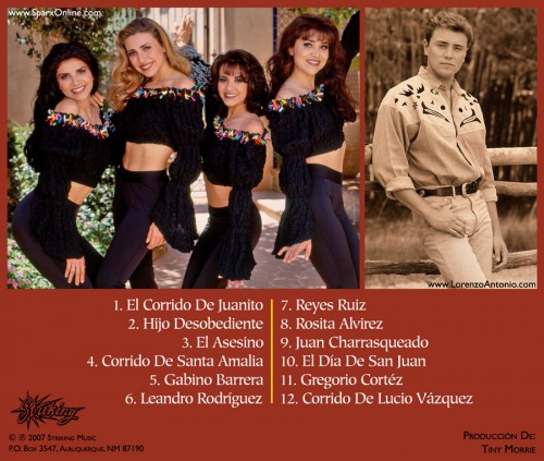 """Lorenzo Antonio y Sparx """"Corridos Famosos"""" CD back"""