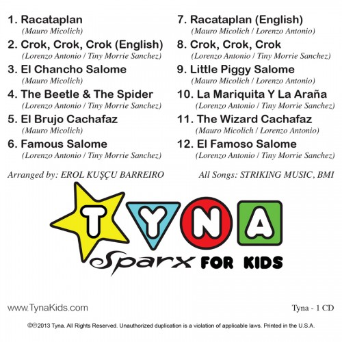"""Tyna Sparx For Kids"" CD back"